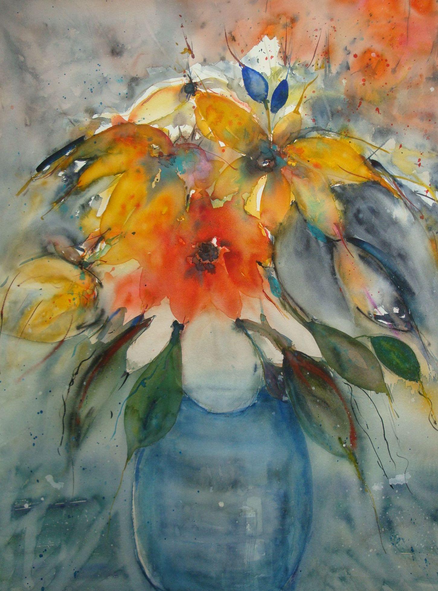 Blumen in blauer Vase 2015, 56 x 76